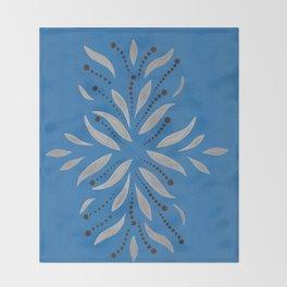 Blue Bell – Scandinavian folk art - silver leafs on blu Throw Blanket