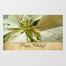 Pale Yellow Poinsettia 1 Happy Holidays S2F1 Rug