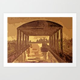 Boat shed in the rain Art Print