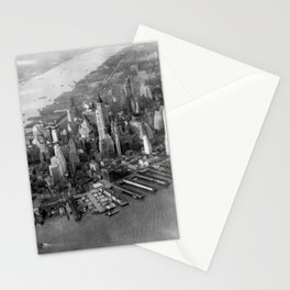 1931 Manhattan, Hudson River, and East River Skyline Aerial black and white photograph Stationery Cards
