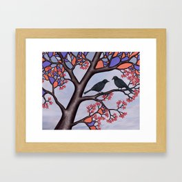 spring crows in the stained glass tree Framed Art Print
