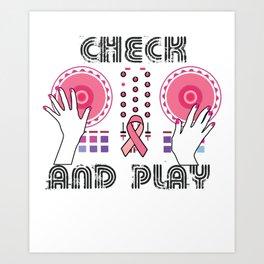 Naughty Breast Cancer Awareness Art For Women Light Art Print