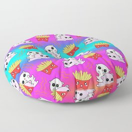 Cute sweet adorable Kawaii playful baby cats, yummy happy funny French fries cartoon colorful rainbow blue pink pattern design. Kittens and comfort food. Munchies o'clock. Floor Pillow