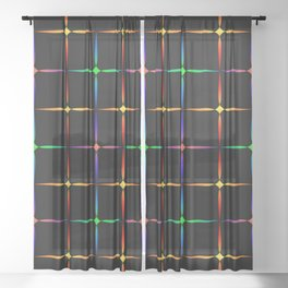 Neon diamonds. Pattern or background of multicolored neon stars on a black background Sheer Curtain