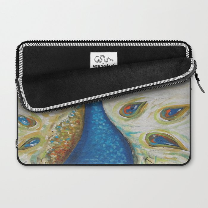 Peacock with White Laptop Sleeve