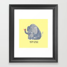 Elephant never forgets Framed Art Print