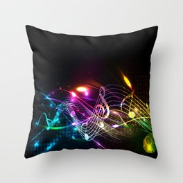 Music Notes in Color Throw Pillow