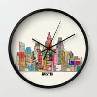 austin Wall Clocks featuring Austin texas by bri.buckley