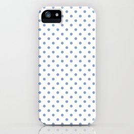 Polka dots Blue dots over white iPhone Case