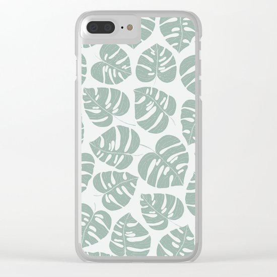 Grey Monstera Clear iPhone Case