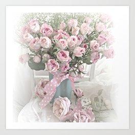 Pastel Roses In Vase - Shabby Chic Roses Pink Aqua Floral Print Home Decor Art Print