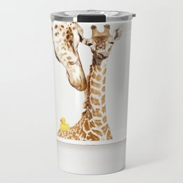 Mother & Baby Giraffe with Rubber Ducky in Vintage Bathtub Travel Mug