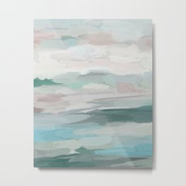 Sage Green Sky Blue Blush Pink Abstract Nature Sky Wall Art, Water Land Painting Print Metal Print