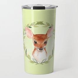Fawn with green wreath Travel Mug