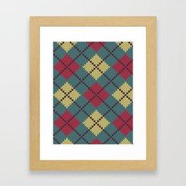 Faux Retro Argyle Knit Framed Art Print