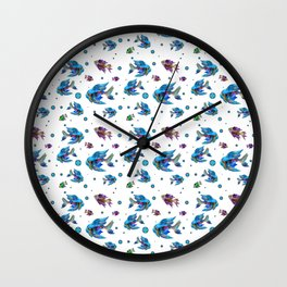 Pattern Fish Blue Rapport Wall Clock
