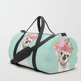 Llama with Flowers Crown #3 Duffle Bag