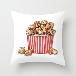 Candies & Sweets: Caramel Popcorn Throw Pillow