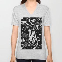 Black & White Marble Swirls Unisex V-Neck