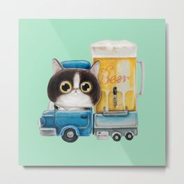 A cat in a beer truck Metal Print