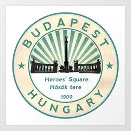 Budapest, Heroes' Square, Hosök tere, Hungary, circle Art Print