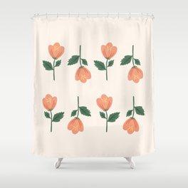 Pink Peony Pattern Shower Curtain