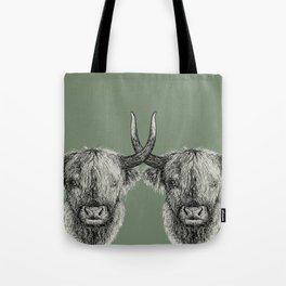 Scottish Highland Cows, pen and ink illustration, grassy green Tote Bag