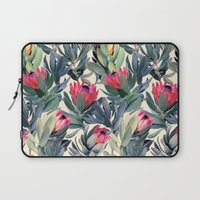 elegant Laptop Sleeves featuring Painted Protea Pattern by micklyn