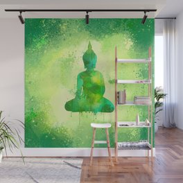 Green Watercolor Buddha Painting Wall Mural