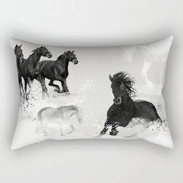 Horses. Running. Wilderness. Rectangular Pillow