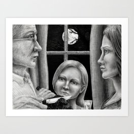 Untitled - charcoal drawing - family,full moon, spooky Art Print