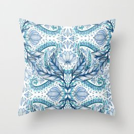 Lily, Leaf & Triangle Pattern – blues Throw Pillow