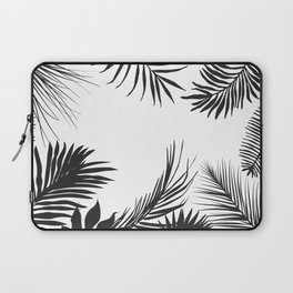 Black And White Palm Leaves Laptop Sleeve