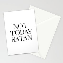 Not Today Satan, Gift for Her, Wall Art, Funny, Minimalist Stationery Cards