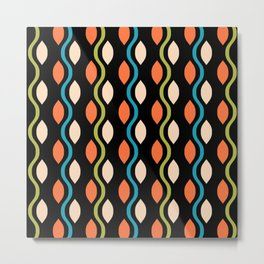 Retro Ogee Pattern 444 Orange Turquoise and Olive Green Metal Print
