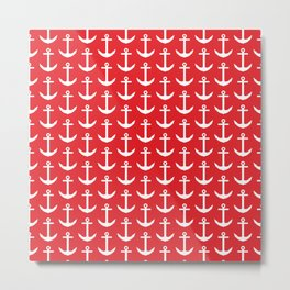 Red Anchor Pattern - White and Red Nautical Metal Print