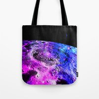 the moon Tote Bags featuring Purple Blue Galaxy Moon  by 2sweet4words Designs