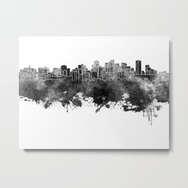 Edmonton skyline in black watercolor Metal Print