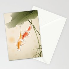 Koi fishes in lotus pond Stationery Cards
