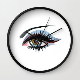 Blue eye with make up Wall Clock