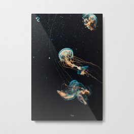 Blue & Orange Jellyfish Metal Print