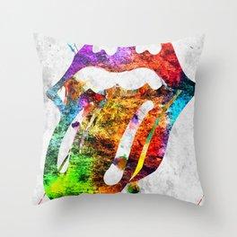 The Stones Logo Grunge Throw Pillow