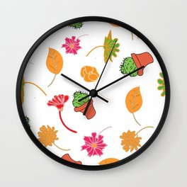 cactus, leaves in color Wall Clock
