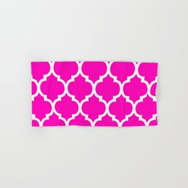 MOROCCAN PINK AND WHITE PATTERN Hand & Bath Towel