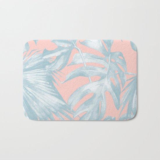 Island Love Pale Teal Blue on Millennial Pink Bath Mat