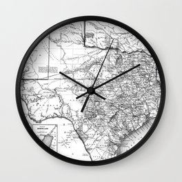 Vintage Map of Texas (1856) BW Wall Clock