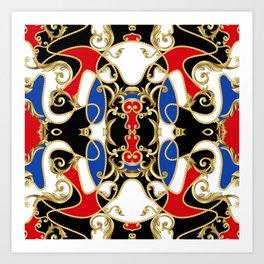 Antique baroque elements luxury decor illustration pattern Art Print