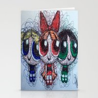 powerpuff girls Stationery Cards featuring powerpuff girls doodle/scribble by Patricia Pedroso