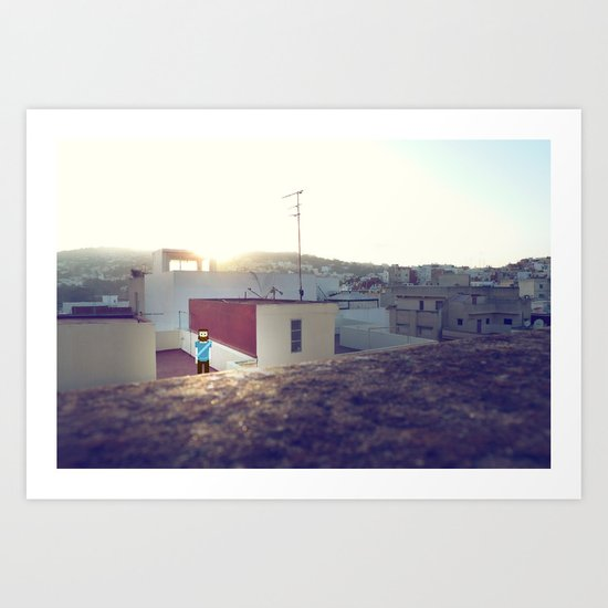 Tanger roof top with PixelBoy Art Print