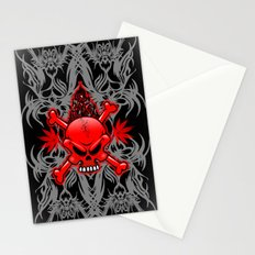 Red Fire Skull with Tribal Tattoos Stationery Cards